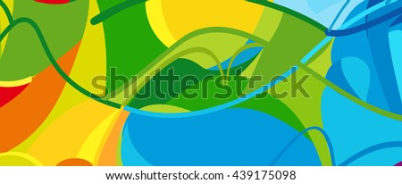 Rio. 2016 Brazil Games abstract colorful pattern. Summer color of athletic games 2016 - Green, orange, yellow, blue. Color shapes and lines. Summer Brazilian Sport background. For design advertising.