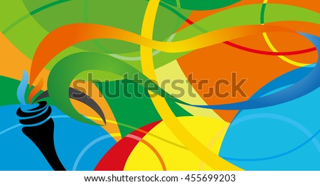 Rio de Janeiro 2016 abstract colorful pattern. Summer color Green, orange, yellow, blue. Rio. 2016 Summer vector illustration. Sport Brazil, Summer games banner for design. paralimpic