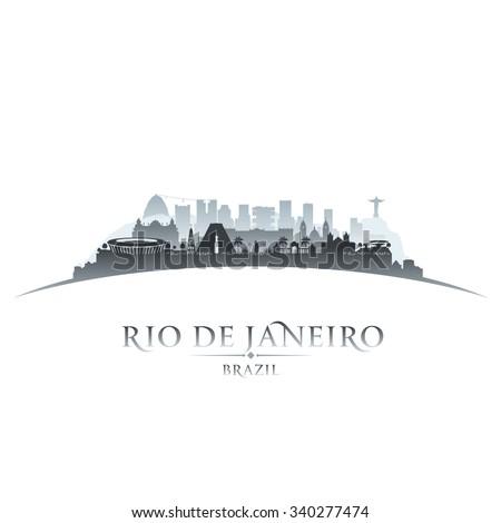 Rio de Janeiro Brazil city skyline silhouette. Vector illustration - stock vector