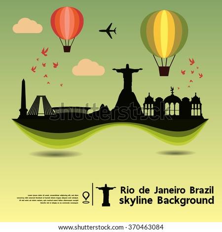 Rio de Janeiro, Brazil ,skyline background and  travel destination, vector Illustration - stock vector