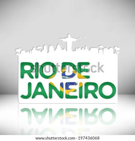 Rio de Janeiro Brazil vector design on white background. - stock vector