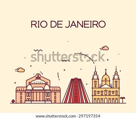 Rio de Janeiro City skyline detailed silhouette. Trendy vector illustration, line art style. - stock vector