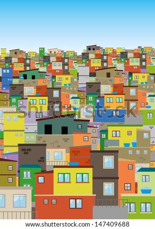 Rio de Janeiro, Favela, illustration  - stock vector