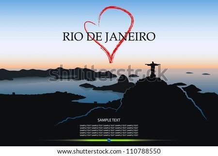 Rio De Janeiro postcard - vector illustration - stock vector
