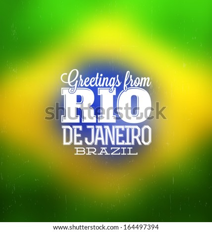 Rio De Janeiro - Typogrpahic Greeting Card - stock vector