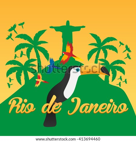 Rio de Jeaneiro Poster. Travel in Brasil. South America. Statue of Christ the Redeemer. Toucan. Three parrots - stock vector