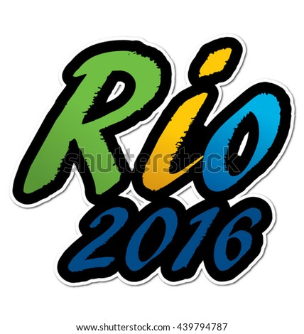 Rio 2016 in flag colors, eps10 vector