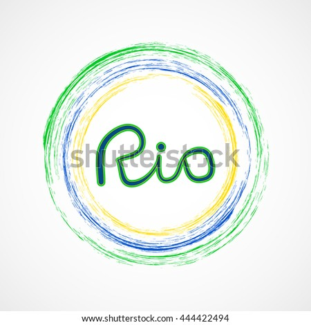 Rio 2016 olympic games banner with brazilian flag. Event in Brazil from 5 th  till 21 st august 2016. Vector flat design. Olimpic games 2016. RIO. Web sites, page, leaflet, with colored spots. Sport - stock vector