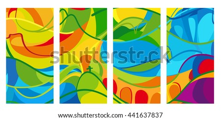 Rio. 2016 set of colorful abstract backgrounds. Summer Athletic Games in Brazil pattern. Rio de Janairo Sport summer Brazil vector illustration for Art, Print, Web design.