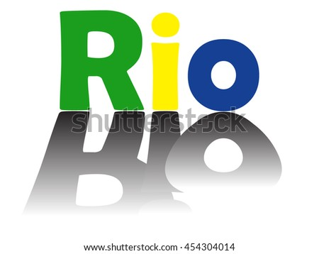 Rio text with shadow in Brazil flag colors  - stock vector