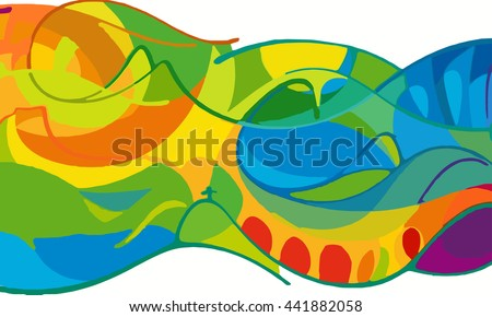 Rio vector 2016 Brazil Summer Games Rio de Janeiro colorful background. Abstract colorful lines background in brazilian flag colors. Brazil Summer 2016 Games Rio de Janeiro sport event celebration - stock vector