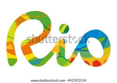 Rio vector 2016 Brazil Summer 2016 Rio de Janeiro banner with abstract colorful backrop. Hand drawn Vector flat design illustration clip art graphics. Rio sport games background 2016, Rio backdrop - stock vector