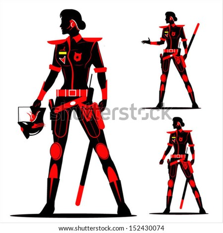 Riot Policewoman. future policewoman without helmet  in Black & Red - stock vector