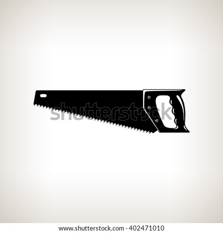 Rip Saw , Silhouette a Crosscut Hand Saw on a Light  Background, Agricultural Tool Saw , Garden and Carpentery  Equipment, Black and White Vector Illustration