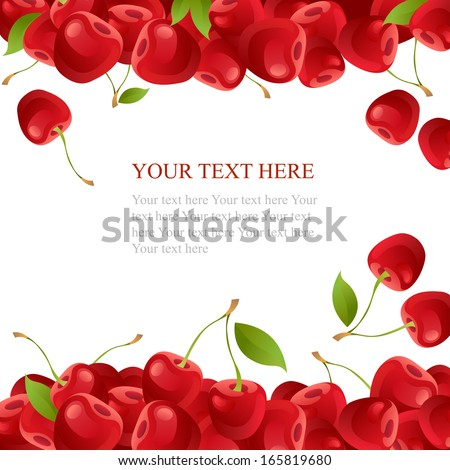Ripe cherry with leaves on white background  - stock vector