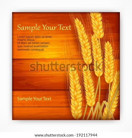 Ripe ear wheat on wooden background, agricultural vector illustration - stock vector