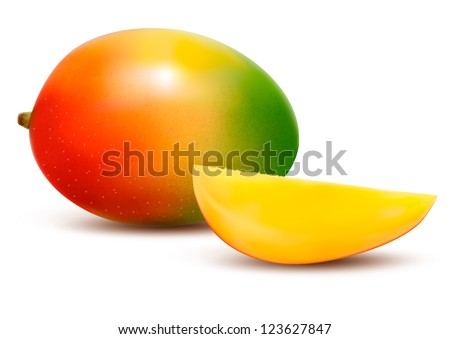 Ripe fresh mango with slice. Vector illustration.