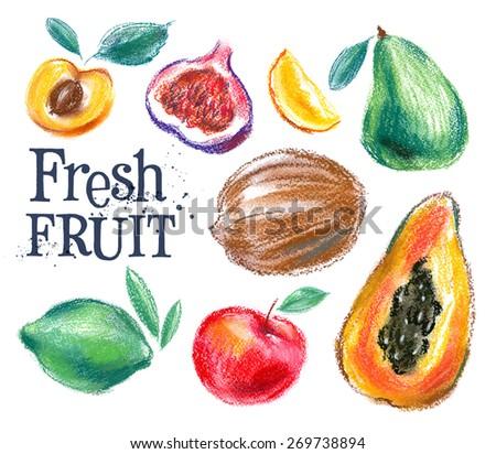 ripe fruit vector logo design template. fresh food or harvest icon. - stock vector