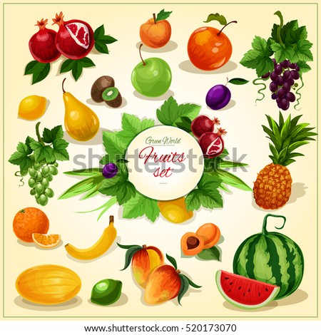 Ripe fruit with leaves poster of juicy apple, banana, orange, grape, mango and pineapple, plum and peach, pear, lemon, watermelon, apricot and kiwi, pomegranate and melon