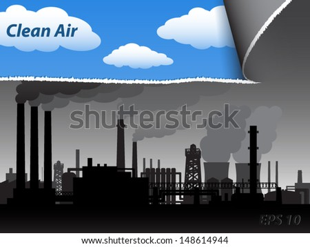 ripe industrial smog paper from the blue sky/ clean air / vector illustration eps 10 - stock vector