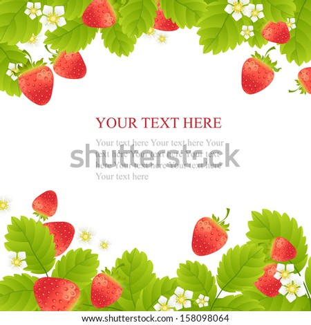 Ripe strawberries with leaves and flowers on white background - stock vector