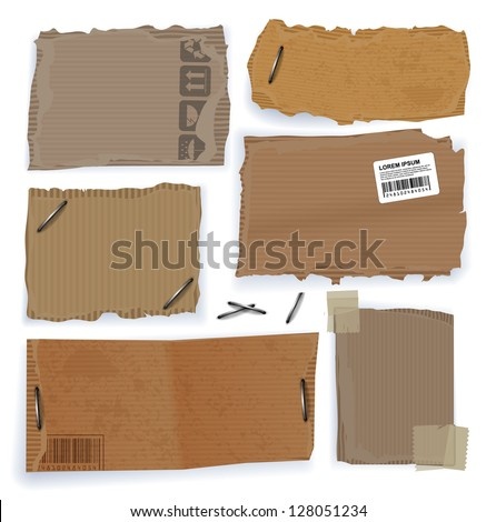 Riped cardboard tags. Vector website template, design elements set on white background - stock vector