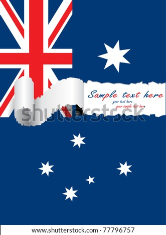 ripped australia flatg - stock vector