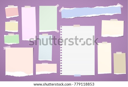 Ripped blank lined, colorful note, notebook paper strips, sheets stuck with sticky tape for text or message on violet background