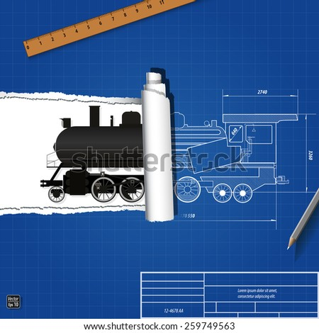 Ripped blueprint old steam locomotive vector stock vector 259749563 ripped blueprint with old steam locomotive vector illustration eps 10 malvernweather Gallery