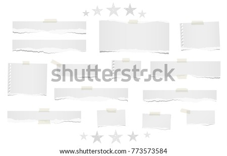 Ripped lined and blank note, notebook paper strips for text or message stuck with sticky tape on white background with stars