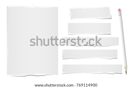Ripped, note, notebook paper sheets for text or message stuck on white background with pencil
