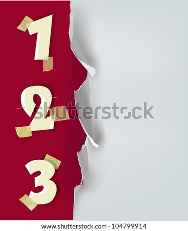 ripped paper background with numbers - stock vector