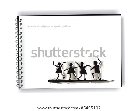 ripped paper dancing people on the note page - stock vector