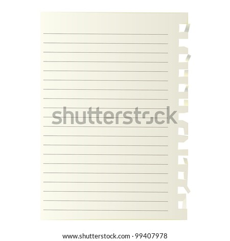 Ripped paper edge background with Note Paper Vector .eps10 - stock vector