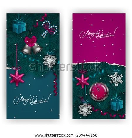 Ripped paper frame design. Set of Festive background with realistic baubles, bells, lollipops, gift, serpentine, tree, clock for greeting card, invitation, congratulation. Vector illustration EPS10. - stock vector