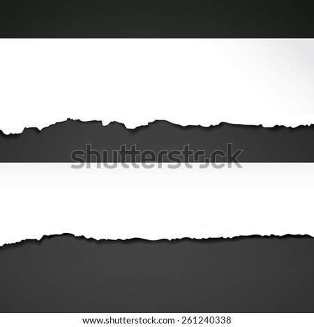 ripped paper template isolated on black background - stock vector