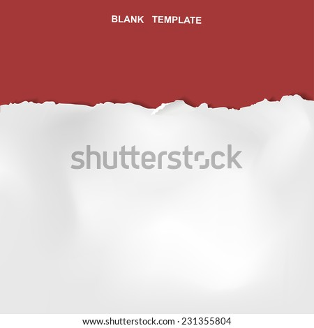 ripped paper template isolated on red background  - stock vector