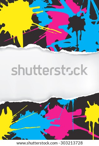 Ripped paper with print colors splatters. Torn Paper background with with print colors splatters. Concept for presenting color printing press.Vector available. - stock vector