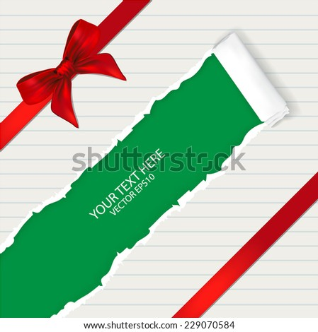 Ripped paper with ribbon, space for copy  - stock vector