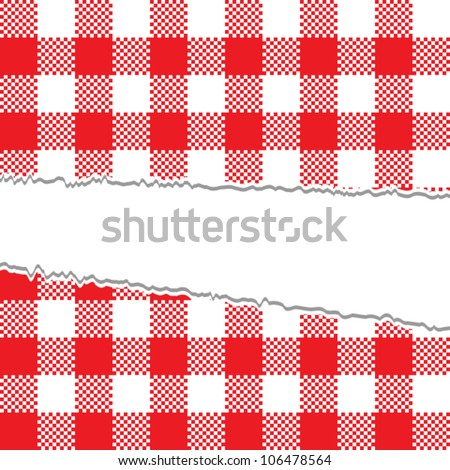Ripped retro tablecloth texture - stock vector