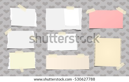 Ripped white and colorful notebook, note paper stuck with beige sticky tape on pattern created of heart shapes