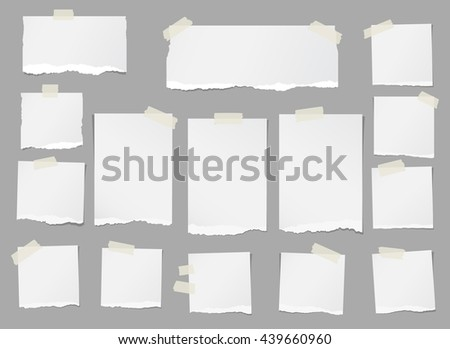 Ripped white blank note paper are stuck on gray background - stock vector