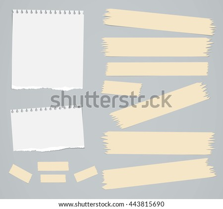 Ripped white blank notebook paper sheets, masking tapes are stuck on gray background