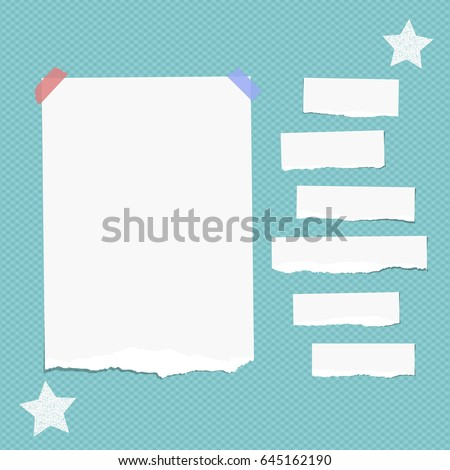 Ripped white note, notebook, copybook paper strips stuck with sticky tape, stars on squared blue background.