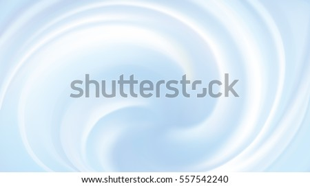 Rippled curvy light cyan fond. Volute fluid gentle azure color with space for text in soft shiny glowing white center