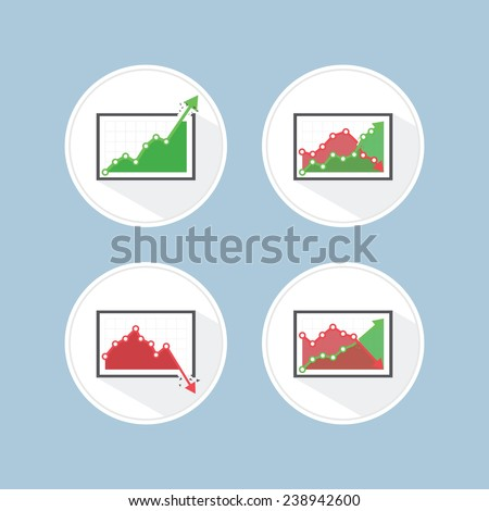 Rise and fall business graph, VECTOR, EPS10 - stock vector