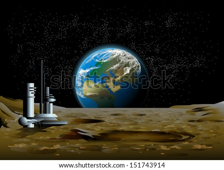 Rise of the planet earth on the moon - stock vector