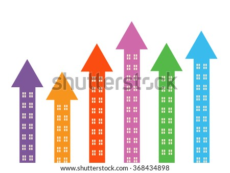 Rising colourful arrow shapes with windows to symbolise property market rising.