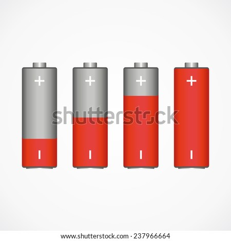 Rising energy in the form of batteries. red and gray. vector format.  - stock vector