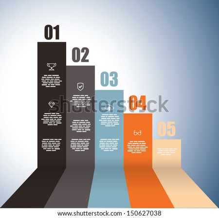 Rising graph with numbers - stock vector